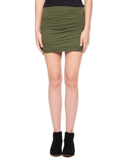 Splendid | Green Light Jersey Shirred Skirt | Lyst