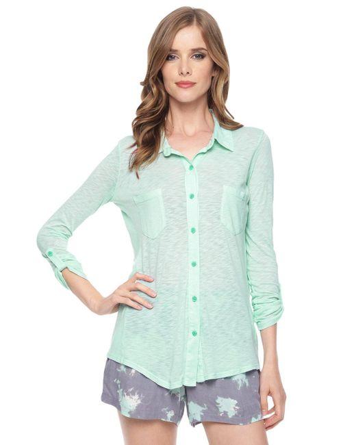 Splendid | Blue Slub Jersey Button Down Shirt | Lyst