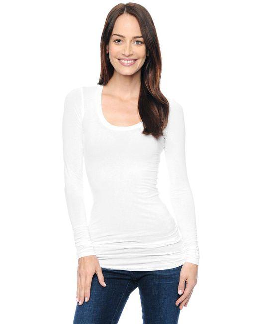Splendid | White Slub Jersey Long Sleeve Tie Front Top | Lyst
