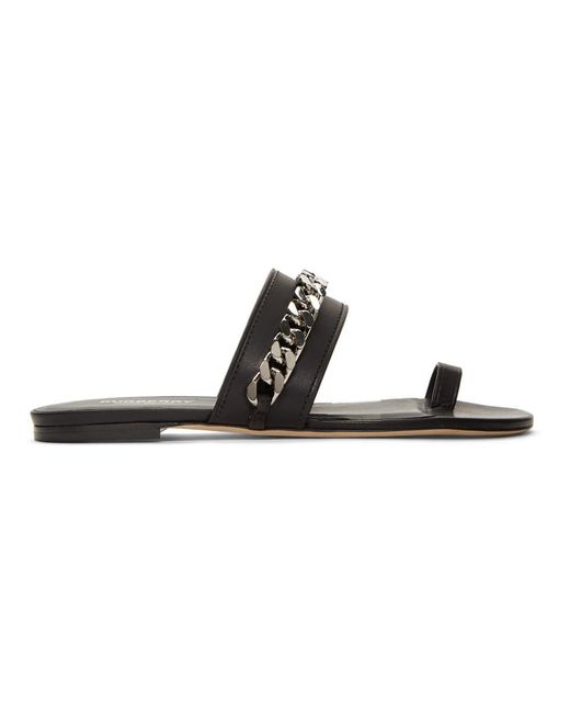 84a531745be Burberry Heidi Leather Slide Sandals in Black - Save 57% - Lyst