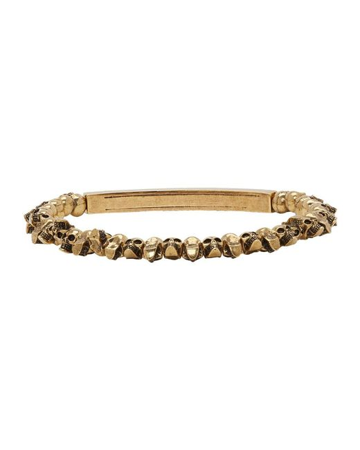 Alexander Mcqueen Metallic Gold Mini Skull Bracelet For Men Lyst
