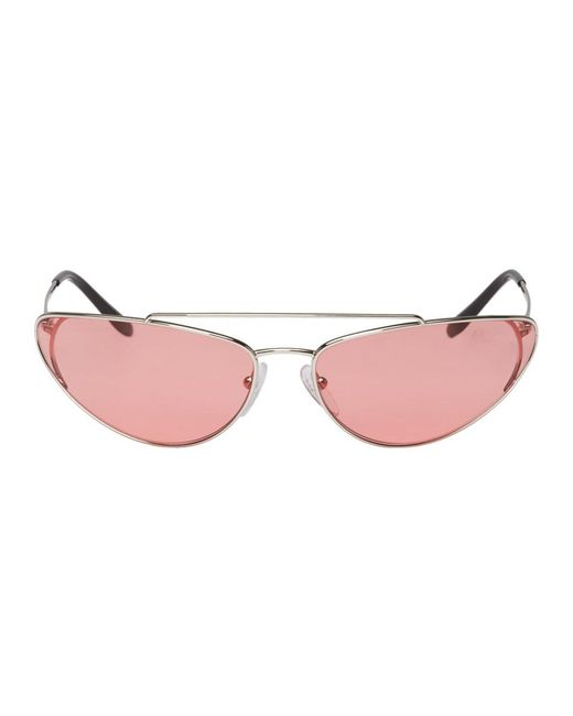 Prada - Silver And Pink Metal Oval Sunglasses - Lyst