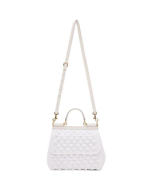Dolce   Gabbana - White Medium Raffia Miss Sicily Bag ... d762ec9479b