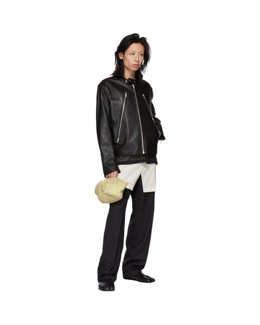 aa4d024a5 Lyst - Maison Margiela Black Leather Classic Five-zip Jacket in ...