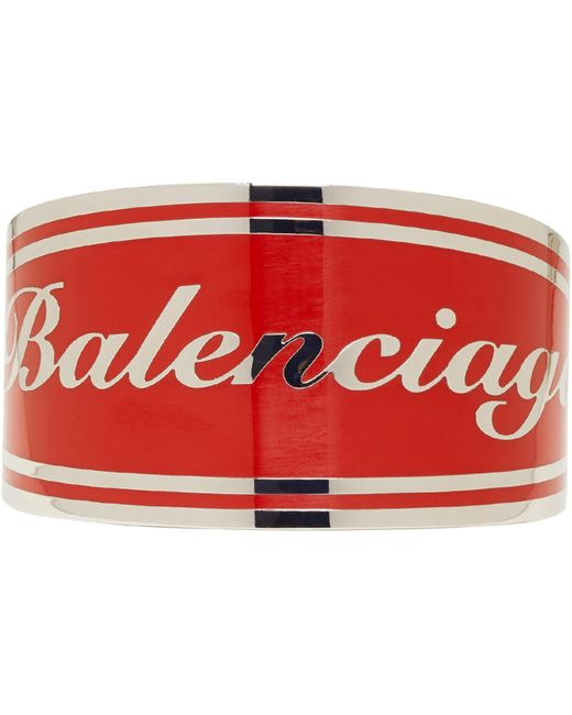Balenciaga | Red And Silver Badge Bracelet | Lyst
