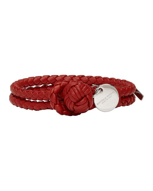 Bottega Veneta - Red Black Intrecciato Knot Bracelet - Lyst