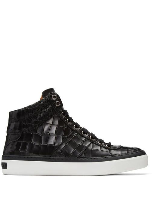 Jimmy Choo | Black Croc-embossed Belgravia High-top Sneakers for Men | Lyst