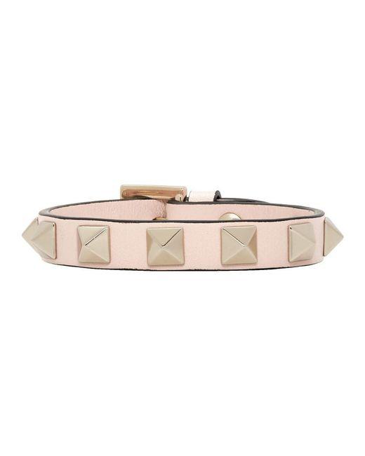 Valentino - Pink Rockstud Small Bracelet In Powder Calfskin - Lyst