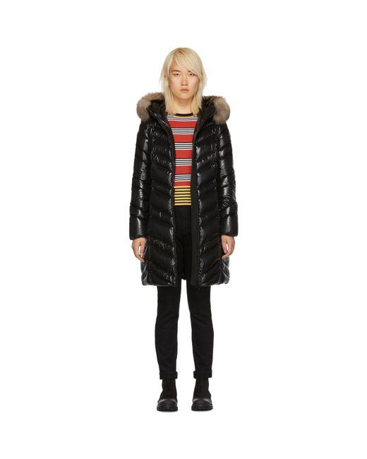 Moncler - Black Down And Fur Fulmar Coat - Lyst