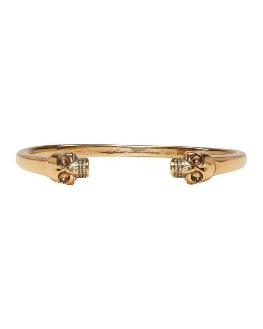 Alexander McQueen - Metallic Gold Twin Skull Cuff - Lyst