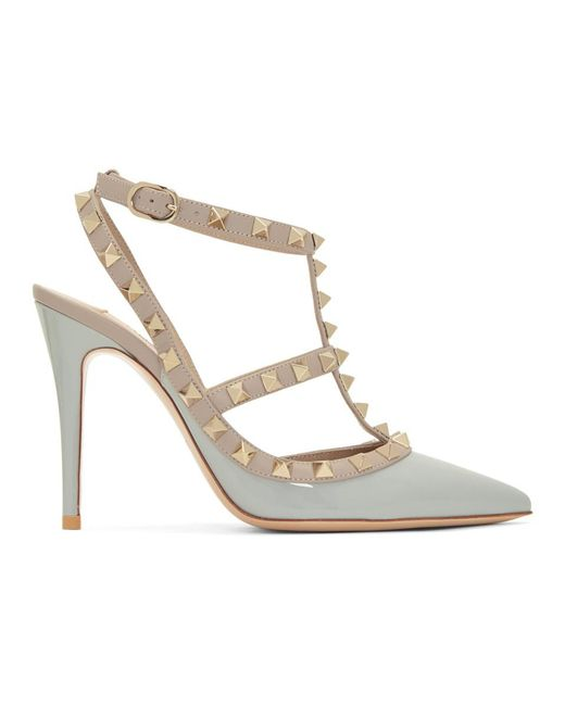 1f39bf9a574 Valentino - Gray Grey Garavani Rockstud Heels - Lyst ...