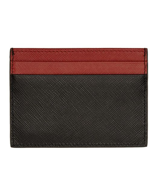 6041ad1b51e4fc ... france prada multicolor black and red bicolor saffiano card holder for men  lyst 6ed3c 65b46