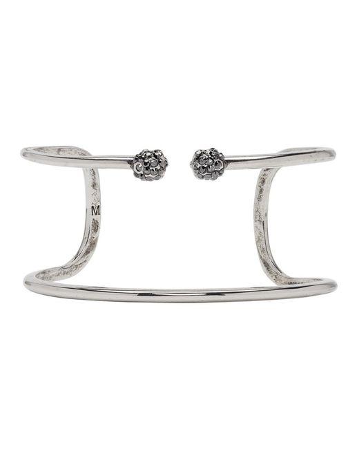 Alexander McQueen - Metallic Silver Double Wrap Skull Bracelet - Lyst