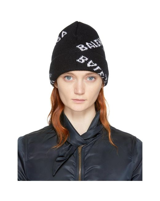 Balenciaga - Black All Over Logo Beanie - Lyst