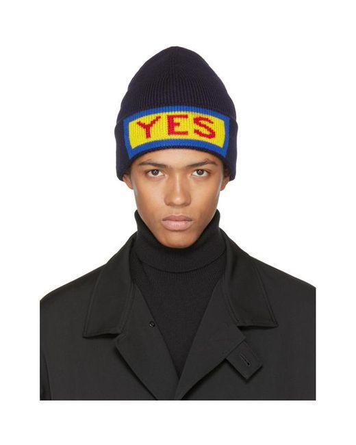 Fendi | Blue Navy 'yes' Beanie for Men | Lyst