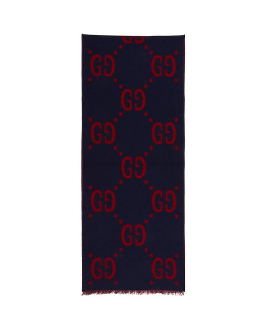 Gucci - Blue Foulard bleu et rouge Signature for Men - Lyst