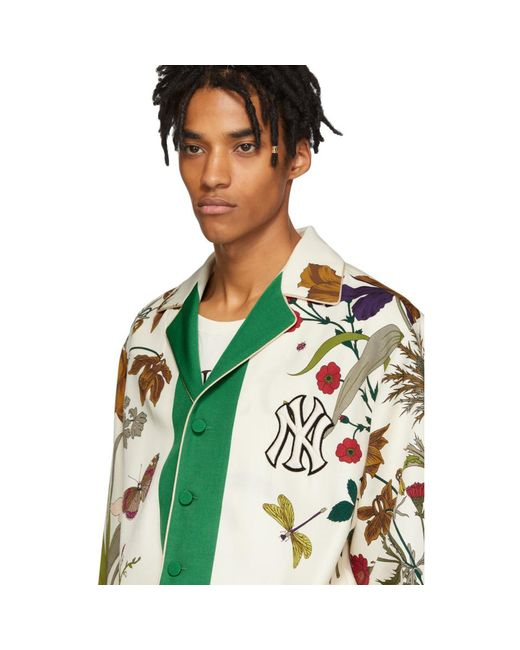 6299dd442c6 ... Gucci - Green White New York Yankees Edition Floral Gothic Print Shirt  for Men - Lyst ...
