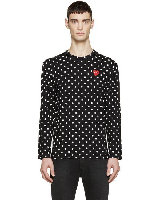 Play Comme des Garçons | Black Polka Dot Heart Patch T-shirt for Men | Lyst