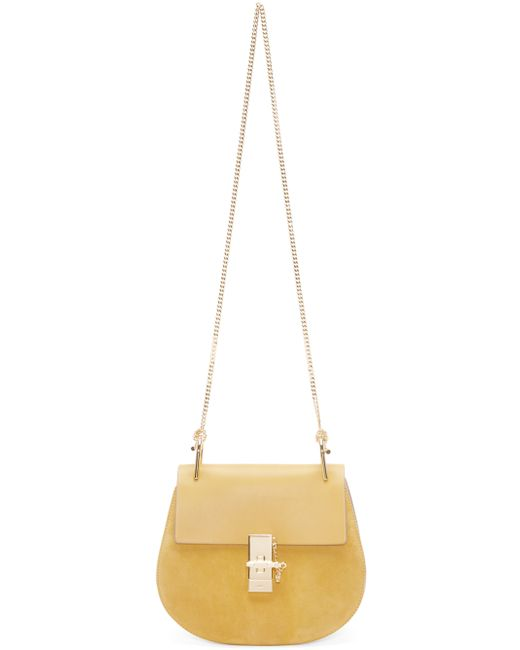 Chlo�� Yellow Leather And Suede Small Drew Saddle Bag in Khaki ...