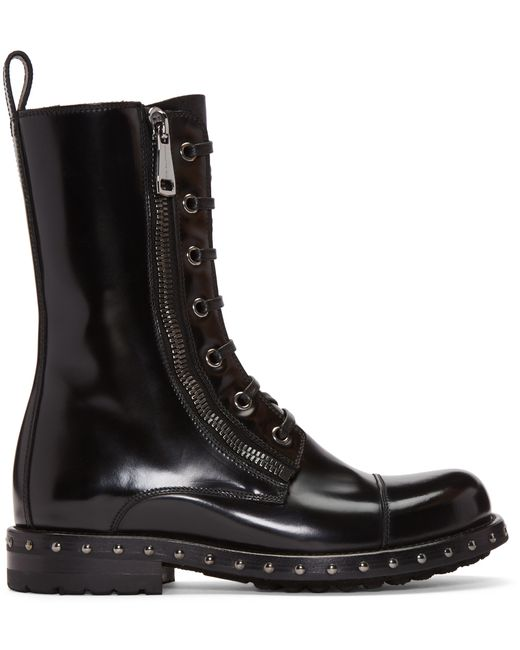 Dolce Amp Gabbana Black Patent Leather Combat Boots In Black