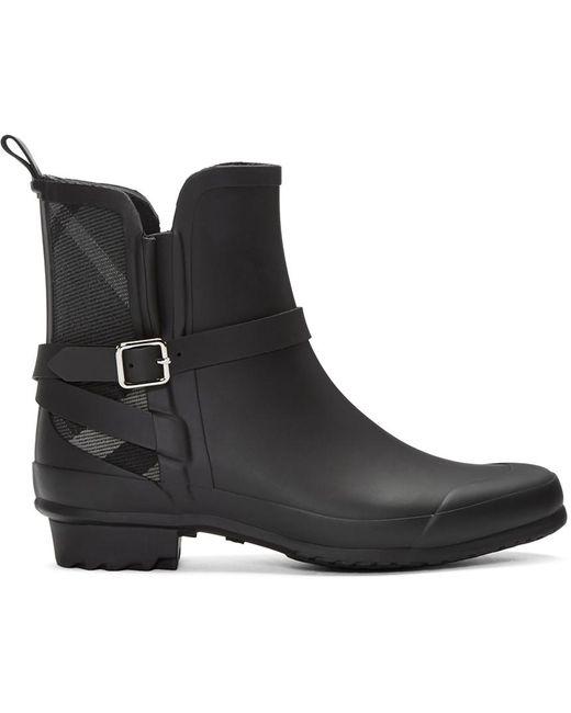 Burberry | Black Riddlestone Wrap Rain Booties | Lyst