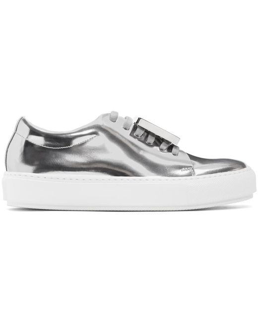 Acne | Silver Metallic Adriana Sneakers | Lyst