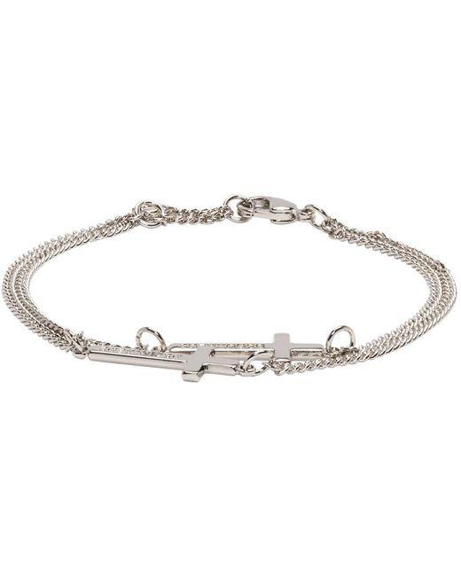 DSquared² | Metallic Silver Double Cross Bracelet | Lyst