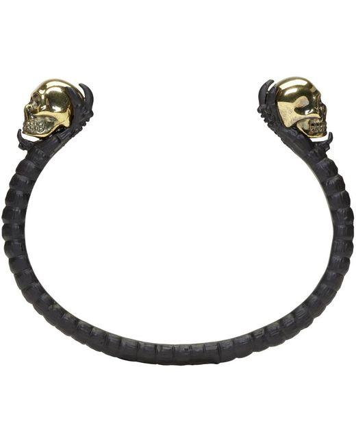Alexander McQueen | Black & Gold Twin Skull Claw Cuff | Lyst