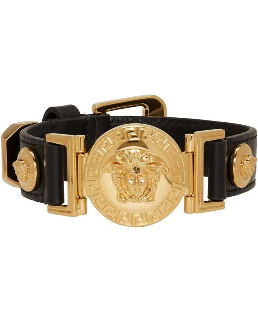Versace Black Leather Medusa Bracelet in Black for Men