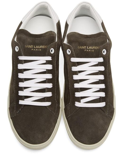 46a177879b953 Saint Laurent Black Suede Sl 06 Court Classic Sneakers