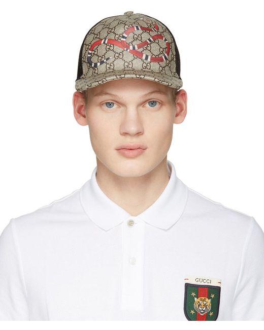 Gucci | Natural Beige Logo & Snake Cap for Men | Lyst