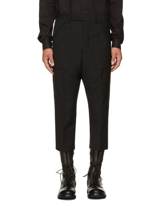 Rick Owens | Black Wool Cropped Cargo Pants for Men | Lyst