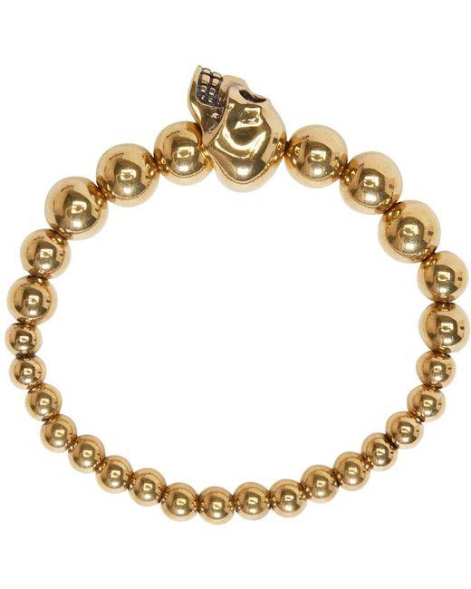 Alexander McQueen | Metallic Gold Skull Multibeaded Bracelet for Men | Lyst