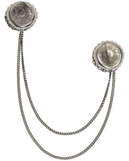 Alexander McQueen | Metallic Silver Double Cap Brooch | Lyst