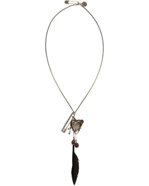 Alexander McQueen   Metallic Silver Heart & Feather Chain Pendant Brooch   Lyst