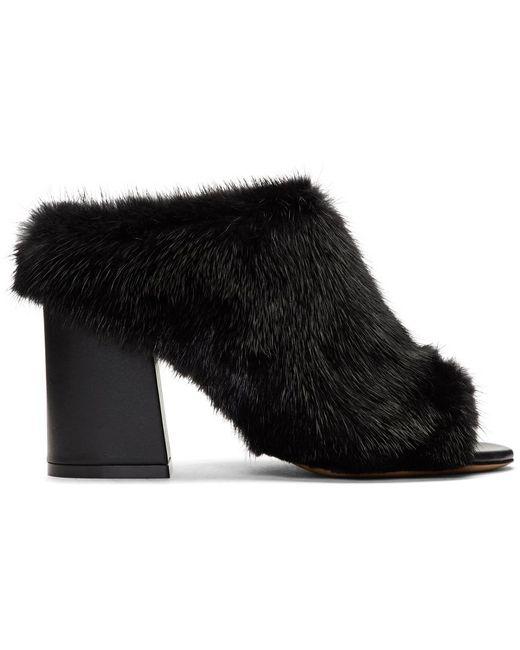Givenchy   Black Fur Paris Mules   Lyst