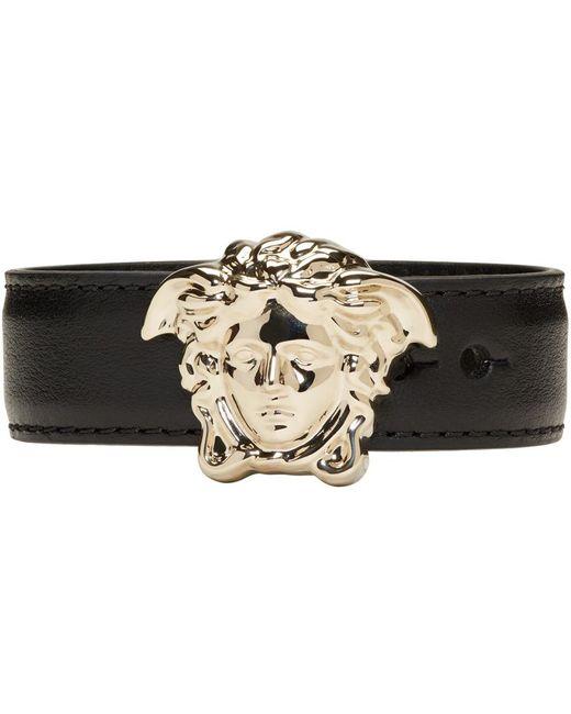 Versace | Black & Gold Leather Medusa Bracelet | Lyst