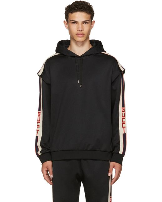 Gucci | Black Logo Tape Hoodie for Men | Lyst