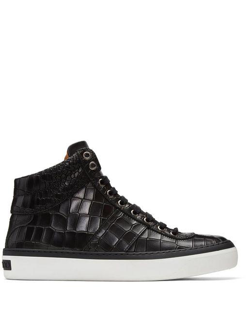 Jimmy Choo | Black Croc-embossed Belgravia High-top Sneakers for Men | Lyst