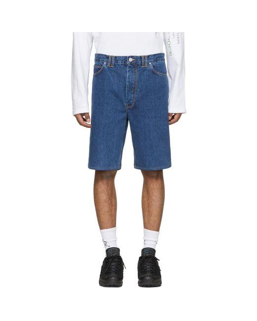 Martine Rose - Blue Indigo Denim Shorts for Men - Lyst