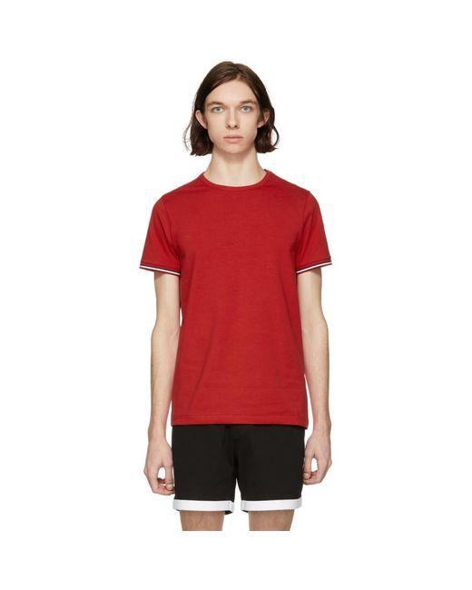 Moncler - Red Flag Sleeves T-shirt for Men - Lyst