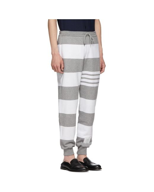 Wiki Grey Engineered Rugby Stripe Lounge Pants Thom Browne Discounts Online Excellent Cheap Price Free Shipping 2018 MBs43v