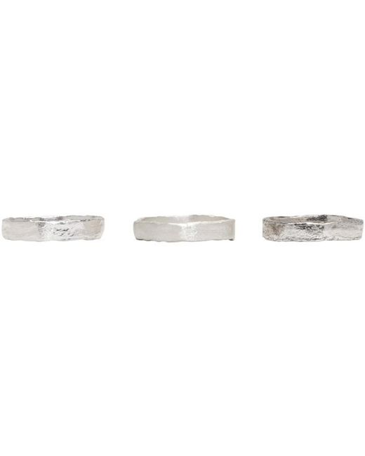 Pearls Before Swine | Metallic Set Of Three Silver Forged Band Rings | Lyst
