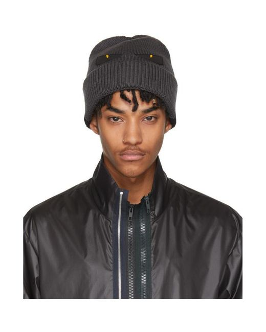 Fendi | Gray Grey And Black Bag Bugs Beanie for Men | Lyst