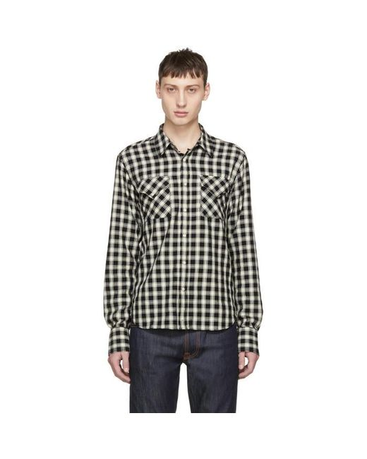 Nudie jeans black and off white check jonis western shirt for Black and white check mens shirt