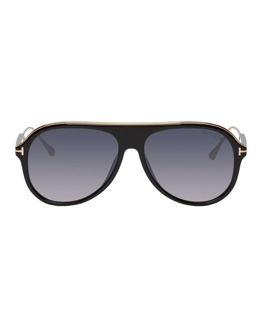 12bb669ab10 Lyst - Tom Ford Black And Gold Nicholai-02 Sunglasses in Black for Men
