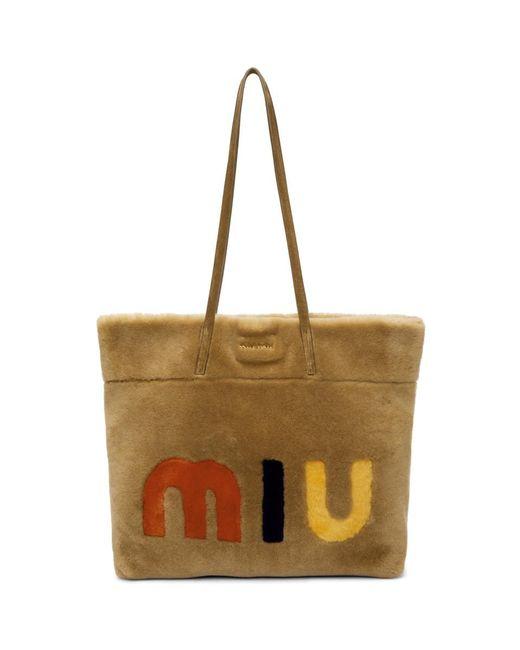 Miu Miu - Brown Tan Shearling Logo Tote - Lyst
