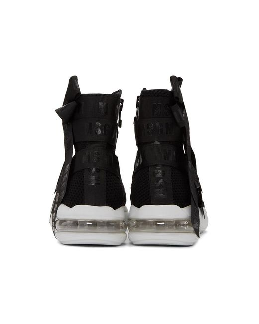 Acne Studios Black Mesh Logo Ribbons High-Top Sneakers nFswXYs0