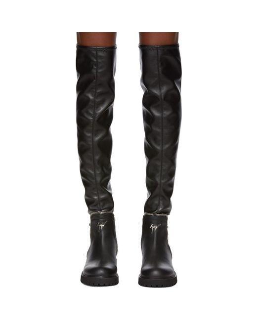 f4b3bee5855b9 Lyst - Giuseppe Zanotti Black Leather Boots in Black - Save 44%