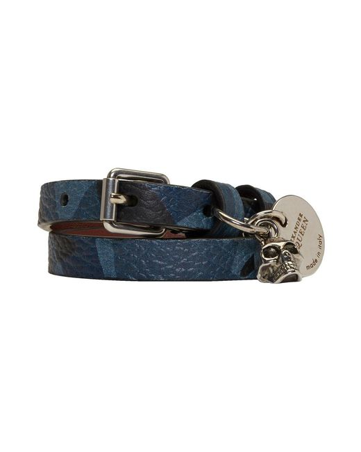 Alexander McQueen - Blue Camo Skull Double Wrap Bracelet - Lyst